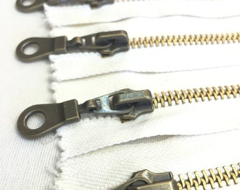 Metal Antique Brass Zipper 9 Inches #5 Closed Bottom - Off-White Cotton Tape (5 zippers)