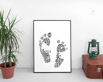 digital footprint | footprints | baby footprint art | footprint art | foot print | foot prints | foot print art | affordable wall art