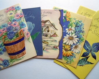 Vintage Embossed Blue and Bright Yellow Flowers Floral Greeting Cards Lot