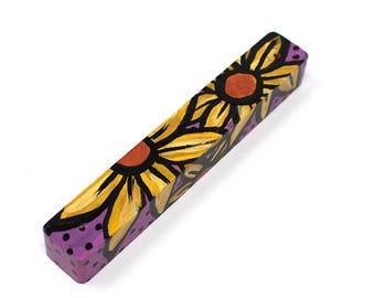 Yellow Daisy Mezuzah - Flower Mezuzah Holder - Jewish Gift - Judaica - Housewarming, Wedding, or Bat Mitzvah Gift for Her