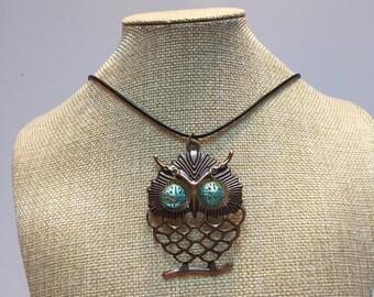 Blue shamballa bead, copper OWL necklace