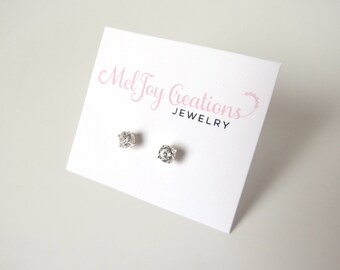 Tiny Cubic Zirconia Stud Post Earrings, Sterling Silver Posts, 4mm CZ Stud Earrings, Crystal Earrings, CZ Earrings, Small CZ Earrings