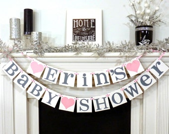 Baby Shower Banner with Mothers Name / Baby Shower Sign / Nursery Sign / Mother's Name / Personalized Name / Nursery Garland / Mommy to be