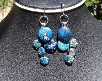 Blue Impression Jasper Cascade Earrings