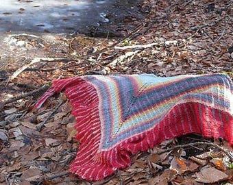 Brioche Shawl knitting pattern collection, set of 2 wraps using tuck stitch, triangle shawls with sideways knit-on border, shoulder wraps