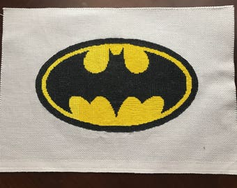 Finished cross stitch batman symbol