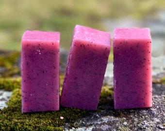 Black Raspberry Sugar Solid Sugar Bar Scrub - All Natural Handmade Vegan with Avocado Oil