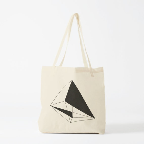 Tote bag, Black Geometry, cotton bag, canvas bag, groceries bag, novelty gift, laptop bag, gift for coworker, shopper bag, fabric tote.