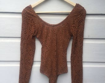 Womens bodysuit size 8 ochre/rust colour