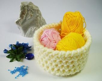 Crochet storage basket round bin crochet home decor storage caddy storage bowl cute storage organizer house warming gift basket home decor