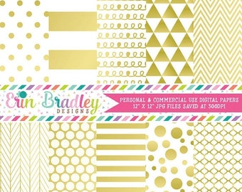 80% OFF SALE Gold Digital Paper Pack Digital Gold Foil Effect Commercial Use Scrapbook Paper Chevron Polka Dots Stripes Triangles