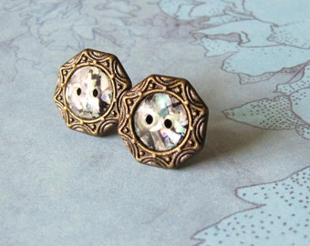 Antiqued Gold Confetti Button Earrings