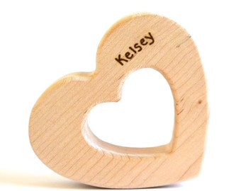 Personalized Baby Teething Toy - Heart Teether - Organic Wood Teether - Organic Baby Toy - Montessori Baby Toy - Baby Shower Gift