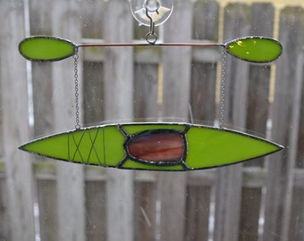 kayak #11 Stained glass suncatcher hanging from silver steel chain