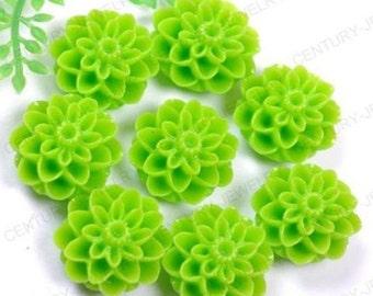10 Pieces 17mm Green Mum Flower Cabochons - Kawaii Decoden Flatback Resin (TDK-C1487)