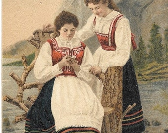 Norway, Norwegian Traditional Costume,  Antique 1910 Color Postcard, Norwegian Cultural History
