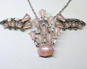Vintage Pink Blush Rhinestone Set - Necklace And Earrings - Blush Bride - Blush Wedding Dress - Pink Moonglow - Silver - Beautiful - Signed