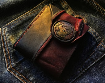 """Junkaholic Vintage Black and Red Wallet / With coin pocket """"MEMENTO MORI Skull Concho"""""""