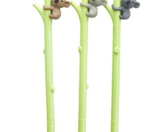 Koala Bear Pens. Cute Animal Pen Set. Kawaii School Supplies. Back to School. Black Gel Pens. Cute Stationery. Koala Gift. Novelty Pens.