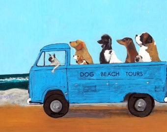 "Large Dog Art Print of an original oil painting, ""Dog Beach Tours"", VW, Transporter, 11"" x 14"""