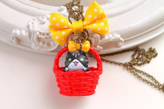Kawaii tuxedo  cat in a basket Necklace with yellow bow lolita kitsch