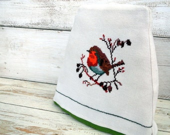 Vintage Robin Tea cosy tea cozy cross-stitch hand embroidered Red Robin Bird  Red Berries Branch in Autumn Hand embroidery