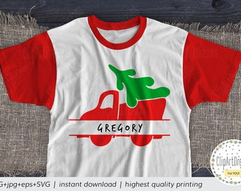 Red Truck With Christmas Tree Monogram SVG,Christmas Red truck Split Monogram frame SVG for boys files for Cricut Silhouette Cameo Curio PNG