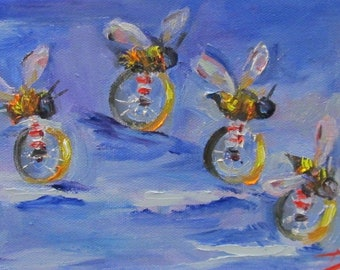 The Race is on Bee's on bikes oil painting Art by Delilah