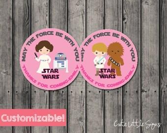 Starwars Princess Leia & Luke Birthday Labels, Star Wars Party Favors Digital Download
