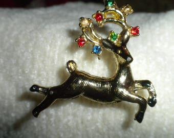 Vintage Christmas Brooch Reindeer Pin with Rhinestone Antlers