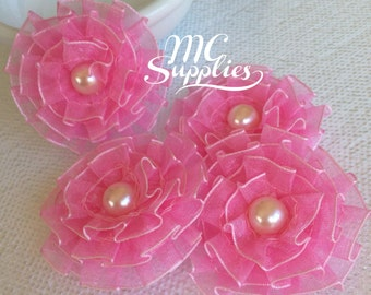 Pink flowers,fabric flowers,headband accessories,flower girl flowers,hair flower,headband flower,baby headband flower,flower appliques,173