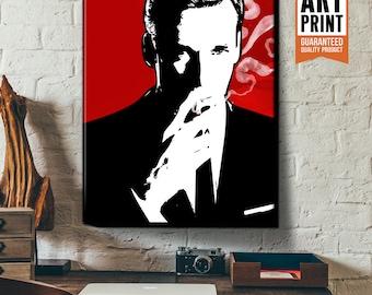 Mad Men - Don Draper - Canvas Art Print, fan art illustration, Mad Men Decor, Pop Art. Mad Men Art Print, Poster size art, Mad Men Art