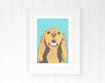 Dog lover wall art prints Sprocker pop art gifts for her Cocker Spaniel illustration Happy dog pet drawing Dotty blue dog mom gift ideas