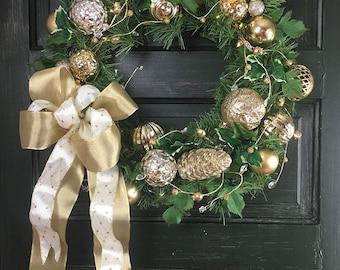 Prelit Christmas Wreath / Gold Christmas Wreath / Holiday Wreath / Christmas Wreath for Door / Wreath Gold Ornaments / Christmas Wreaths