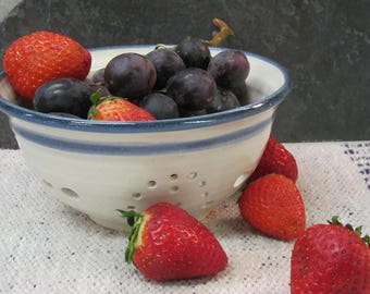 Bowl, Berry bowl, heart design, berry colander, fruit strainer, white & blue pottery, pottery colander, made in Montana, western pottery
