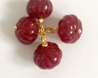 Art Deco Vintage Chain Link cufflinks with cut Rubys