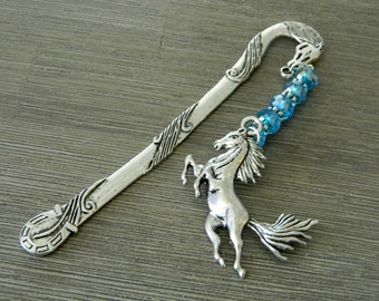 Horse Bookmark with Aqua Blue Glass Beads Detailed Horse Shepherd Hook Silver Color