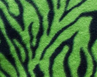 Green and Black Zebra Print Fleece Fabric by the yard