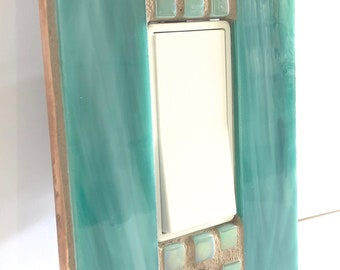 Teal Switch Plate, Light Switch Cover, Switch Cover, Stained Glass, Wall Decor, Single, Light Switch Plate, Home Decor, Glass Art, 8995