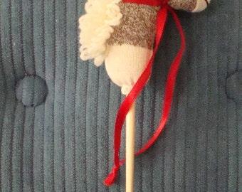 Mini Sock Monkey  Doll Stick Horse Toy