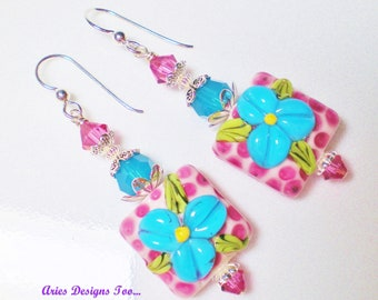 Pink Polka Dotted Lampwork Earrings with Turquoise Flowers, Floral Polka Dot Drop Earrings in Pink and Turquoise