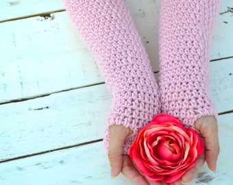 Fingerless gloves, powder pink arm warmers, festival clothing, womens gloves, texting gloves, crochet arm warmers , winter gloves, mittens
