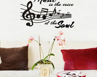 "Music Is the Voice of the Soul Wall Decal- 28"" X 17"""