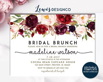 Bridal Brunch Invitation, Fall Bridal Shower Invite, Bridal Luncheon, Wedding Shower, Maroon Floral, Editable Template Card