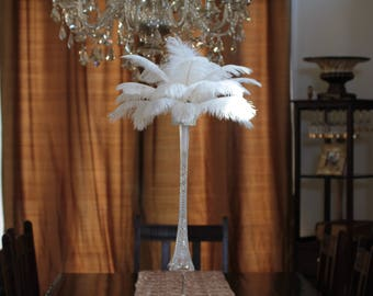 USA Store! DIY Ostrich Feather Centerpiece Kit. 25 White Ostrich Feathers 10 to 14 inches. 20 inch Vase,Clear Beads, Diamond Bling Mesh,Foam