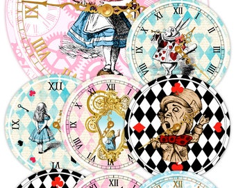 ALICE IN WONDERLAND Clocks, Printable Clock, Vintage Alice, Alice in Wonderland Party, Alice in Wonderland Decorations, Birthday Party Decor