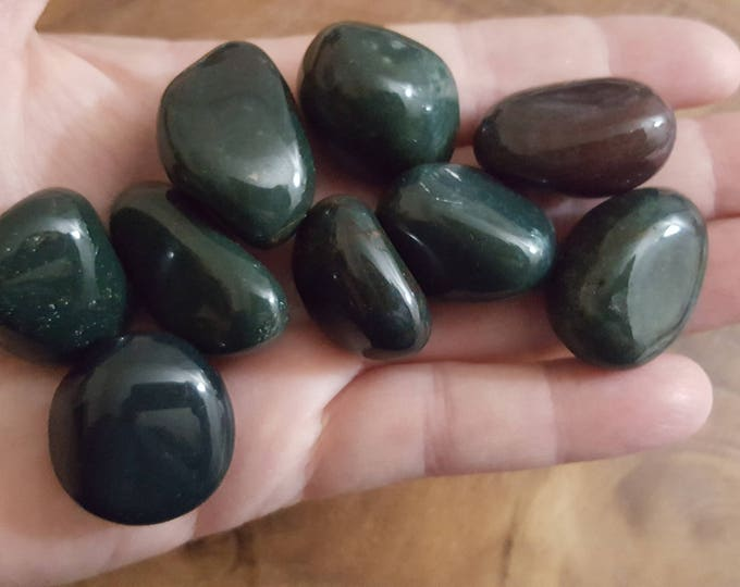 Bloodstone ~ 1 Medium Reiki infused tumbled stone approx 1 inch