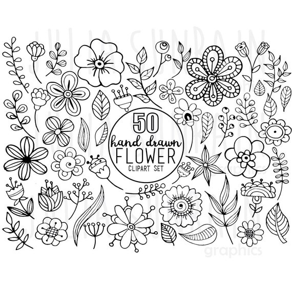 Flower Doodle Clipart & Vector Set Digital Stamp Instant