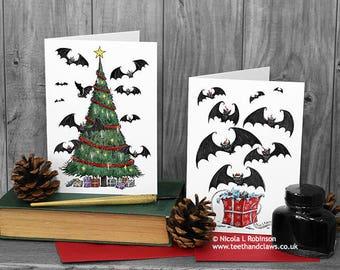 Gothic Christmas Cards, Set of 6, Bat Christmas Cards, Pack of Xmas Cards, Merry Christmas, Unique Christmas, Goth Christmas, Krampus Cards