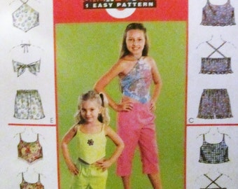 McCalls 3189 Girls Summer Tanks and Pull on Shorts Capri Size CE 3 4 5 Chest 22 23 24